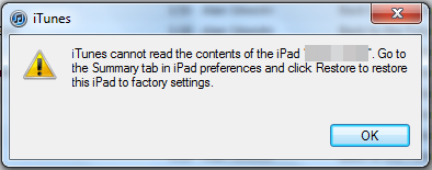 itunes cannot read the contents of the ipad